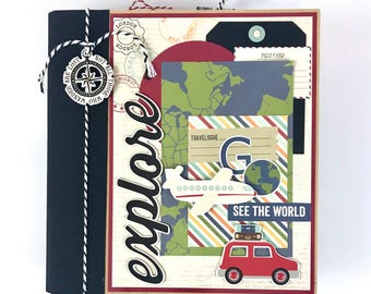 Travel Scrapbook Album Kit or Premade Mini Scrapbook Album Vacation Travel Journal