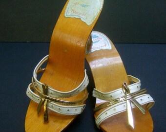 Italian Women's Vintage Wood Mule Sandals Extra Small Petite Size