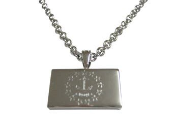 Silver Toned Etched Rhode Island State Flag Pendant Necklace