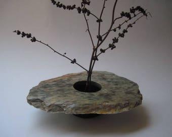 Vintage Stone Flower Frog Ikebana Vase