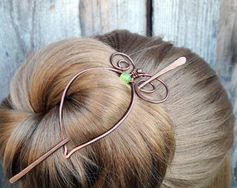 Simple Green Hair Barrette Copper Hair Slide Hair Pin Stick Hand Forged Fibula Wire Wrapped Jewelry Wire Work Handmade Womens gift for her
