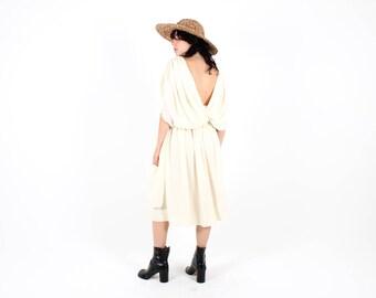 Heavenly Draped 80s Voluminous Low Back Avant Garde Cream White Flattering Cocktail Party Formal Dress