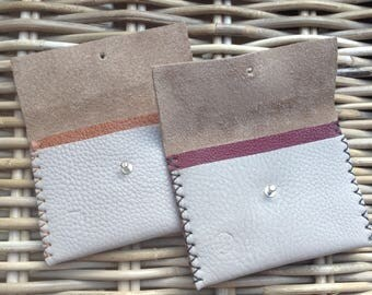 Handmade in UK handstitched 2-colour taupe grey leather ladies' coin/card purse with tan or burgundy leather divider and silver stud