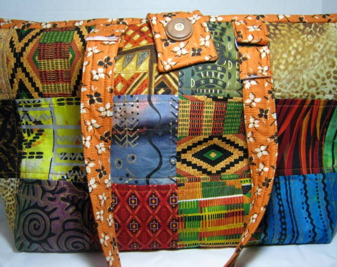 Patchwork Quilted Knitting Crochet Yarn Craft Tote, Ethnic Tribal Fabric