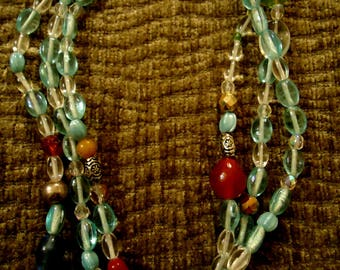 Handcrafted Boho Chic Natural Glass Bead Necklace
