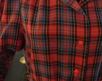 Vintage Red Plaid Dress with Red Buttons