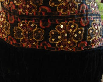 Vintage Boho Gypsy Black Velvet Sequin Embellished Waistline Skirt