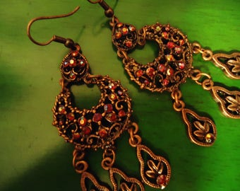 Vintage 1990s Boho Copper and Cranberry Crystal Chandelier Earrings