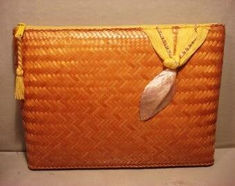 Vintage 1970 Boho Chic Yellow Wicker Clutch Handbag