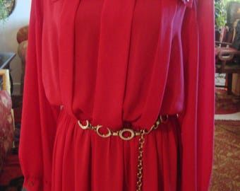 Vintage Magenta Pink Dress with Chain Belt