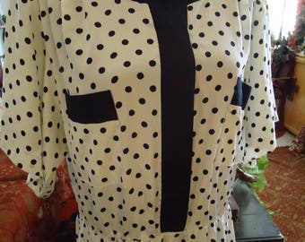 Vintage 1980's Black and White Polka Dot Dress