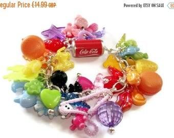 Gumball Charm Bracelet, Coloured plastic charm bracelet
