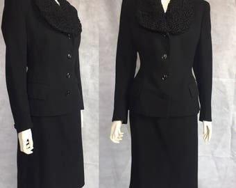 1940s suit with astrakhan collar