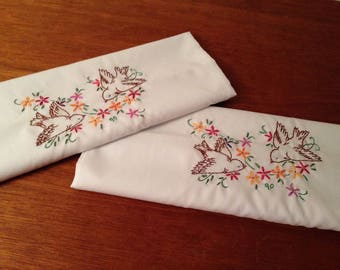 unused pair king floral bird embroidered poly cotton blend standard pillowcases