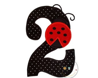 ON SALE NOW Girl's, large, birthday number two iron-on applique in black with white polka dots fabric and a red ladybug with black embroider
