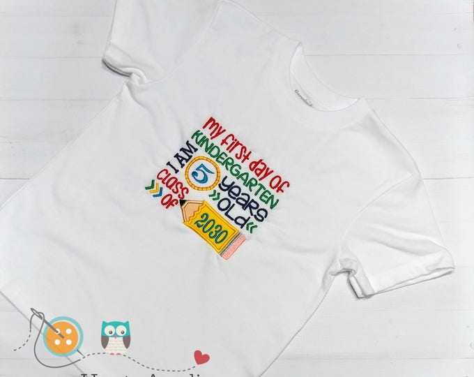 Back to school embroidered t-shirt for kids- My first day of Kindergarten