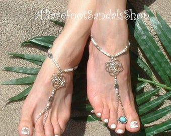 Silver DIAMANTE Pearls Ankle Jewelry Toe Bracelet Barefoot Sandals SIZED Flat Wedding Shoes Low Heel Bridal Flats Foot Jewelry 2 Piece Set