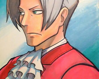 "8 1/2"" x 11"" original marker art anime manga Phoenix Wright Miles Edgeworth portrait Ace Attorney prismacolor animation Nintendo DS ooak"
