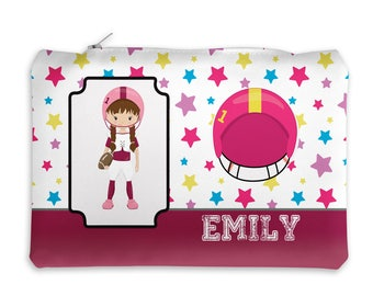 Sports Personalized Pencil Case - Sports Girl Stars Sports Equipment with Name, Customized Pencil Case, Pencil Holder, Pouch