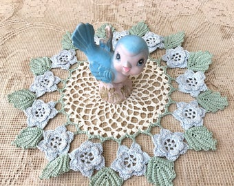 Pretty Vintage Crochet Doily in Ivory, Pastel Blue and Mint