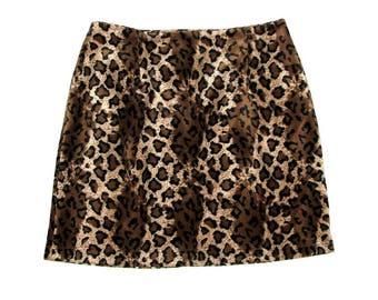 Vintage 90s Fuzzy Leopard Print PARIS BLUES Mini Skirt- Size 8