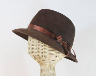 Women's Chocolate Brown Fedora in Velour Felt ~ Jack ~ wide brim, 1930s, rain hat ~ handmade by Bonnet, your local Portland millinery