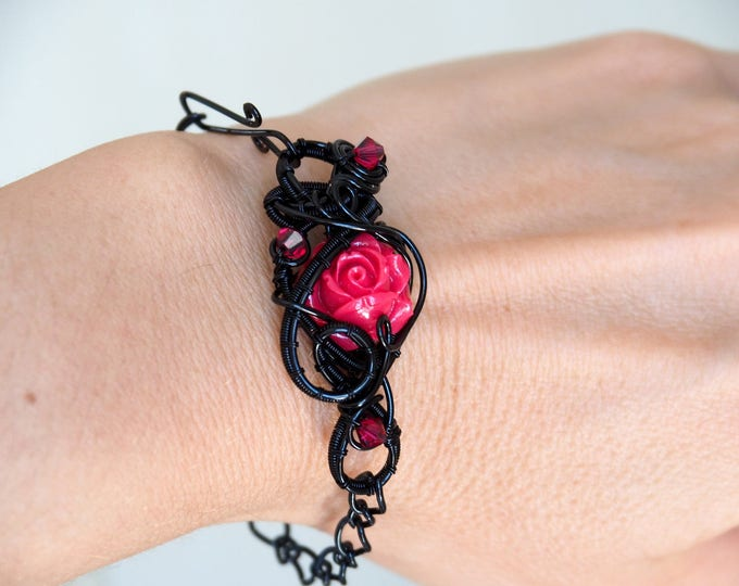 Red rose bracelet ~ Gothic jewelry ~ Black wire wrapping