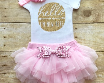 Hello I'm new here set with headbands, cute baby outfit ,Coming home outfit, newborn girl coming home outfit, baby girl clothes, baby girl,