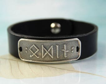 Leather Bracelet With Silver Runes Plate - Choose your own 4-5 Viking Runes