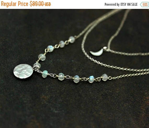 20% off. Multi Chain Choker. Moon and Moonstone Necklace, Adjustable Silver Disc Necklace. Rosary Wire wrapped Gemstones. NCC2361-2