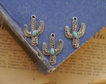 3pcs Silver and Turquoise Boho Cactus Charms 30mm (GC3274)