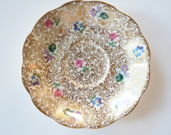 Royal Albert Princess Series Saucer Only for Teacup, Gold Chitz Floral Excellent