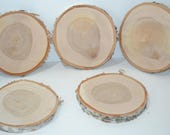 "Birch Wood Slice with Bark 8"" to 8 1/2"" diameter x 1"" thick.  Set of Five"