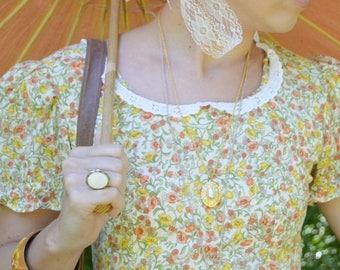 SUMMER SALE Vintage 60's Orange Floral Day Dress - Full Skirt Square Dance Dress - Country Rockabilly Dress - Casual Lolita - Mori girl - Si