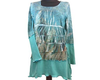 Womens Asymmetric Top, Upcycled Clothing, OOAK Asymmetric Tunic, Flounced Asymmetric Top, Boho Refashioned Top, Altered Couture, Lagenlook