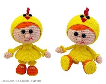 116 Girl doll in a chicken outfit - Amigurumi Crochet Pattern PDF file by Stelmakhova Etsy