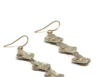 Sterling Hydrangea Earrings, Long  Silver Flower Earrings, Flower Drop Earrings, Artisan Handmade  by Sheri Beryl