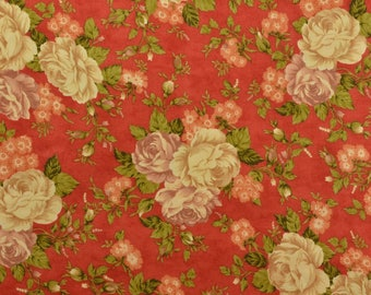 Moda Fabric, Cotton Quilting Fabric, Sewing Fabric, Cotton Floral Fabric, Orange Floral, Cotton Fabric - 1 1/2 Yard - CFL2381