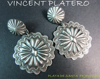 Navajo~VINCENT PLATERO~SW/Santa Fe  Style~Hand Stamped/Made~Oxidized 925~ Round Concho Earrings~Free Shipping!