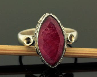 Artisan Red Ruby Ring // 925 Sterling Silver // Ring Size 7 // Handmade Jewelry