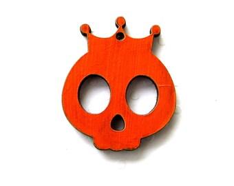 Skull crowned wooden laser cut orange color