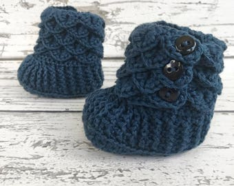 Blue Baby Slippers, Crochet Crocodile Baby Slipper Booties, Ready to Ship