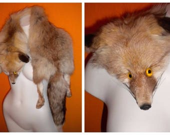 Vintage Fur Stole 1950s Amber Fox Fur Stole Full Body Fox Wrap Scarf Fluffy Fur Amber Eyes Glamour Both Sides Fur 52 in