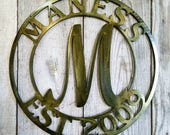 Customized Steel Wall Mount Monogram Large Letter Antique Copper or Antique Bronze Plated Finish