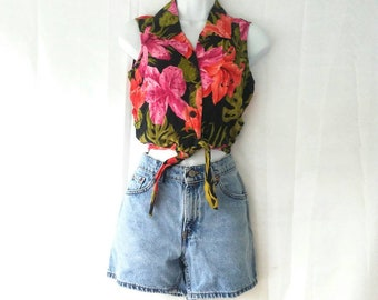 Hawaiian Style 90s Tie Front Crop Top by Caribbean Joe Tropical Print Pin up Style Button up Collared Tank Size Small