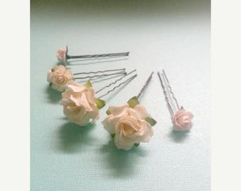SUMMER SALE SAMPLE Sale White and Pale PInk Flower Hair Pins Set Of Five Antique Bronze Pure Soft White Flower Hair Accessories For Wedding