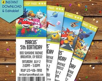 Super Wings Birthday Invitation, Super Wings Invitation, Super Wings Party Invitation, Jett Super Wings Invite, Super Wings Download