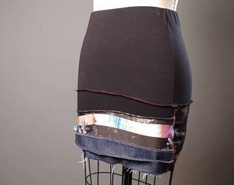ON SALE Upcycled Summer Skirt - Summer MIni Skirt - Patchwork Skirt - Skull - Funky - Street Wear