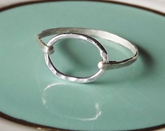 Hammered Oval Sterling Ring - Sterling Ring - Silver Band - Oval Ring - Stacking Ring