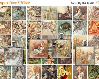 ON SALE 30% OFF Printable Alice in Wonderland Digital Collage Sheet - 1x1 Inch squares - John Tenniel - Arthur Rackham - Instant Downloadabl